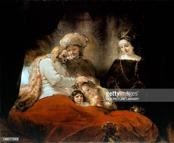 Jacob blessing Joseph's sons by Rembrandt oil on canvas 177x210 cm Kassel Schloss Gemaldegalerie Alter Meister Der Staatliche Museen Kassel