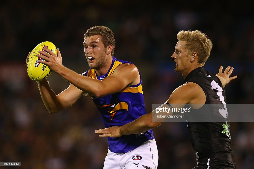 Jacob Brennan of the Eagles controls the ball during the round five AFL match between Port Adelaide Power and the West Coast Eagles at AAMI Stadium on April 27, 2013 in Adelaide, Australia.
