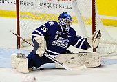Jacob Brennan of the Mississauga Steelheads skates up ice against the Belleville Bulls during OHL game action on January 16 2015 at the Hershey...