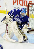 Jacob Brennan of the Mississauga Steelheads takes warmup prior to a game against the Belleville Bulls during OHL game action on January 16 2015 at...