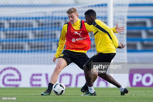 Jacob Bruun Larsen of Borussia Dortmund and Ousmane Dembele of Borussia Dortmund battle for the ball during the sixth day of the training camp in...