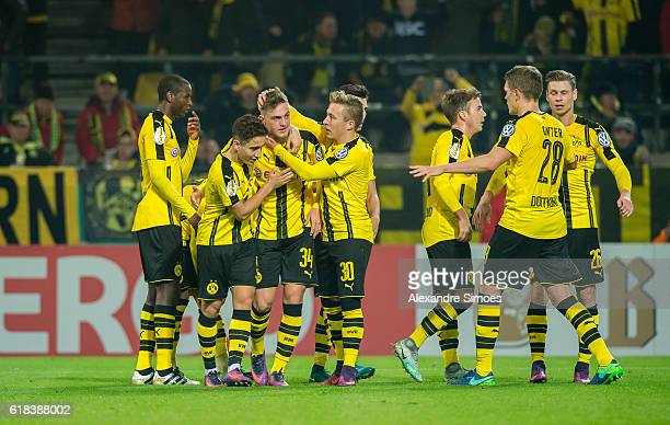 Jacob Bruun Larsen of Borussia Dortmund celebrates after scoring the opening goal during the DFB Cup match between Borussia Dortmund and 1 FC Union...