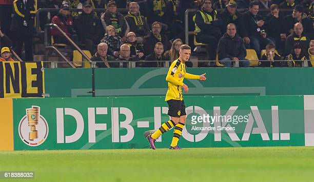 Jacob Bruun Larsen of Borussia Dortmund in action during the DFB Cup match between Borussia Dortmund and 1 FC Union Berlin at Signal Iduna Park on...