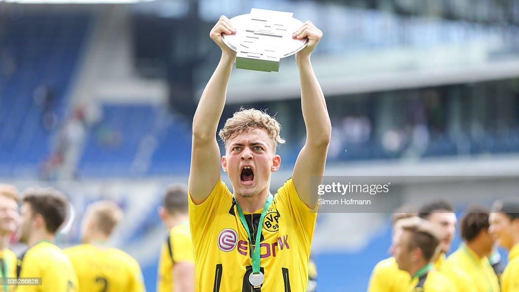 Jacob Bruun Larsen of Dortmund celebrates after the A Juniors German Championship Final match between 1899 Hoffenheim U19 and Borussia Dortmund U19 at Wirsol Rhein-Neckar-Arena on May 29, 2016 in Sinsheim, Germany.