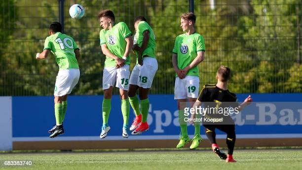 Jacob Bruun Larsen of Dortmund kicks a freekick during the U19 German Championship Semi Final second leg match between Borussia Dortmund and VfL...