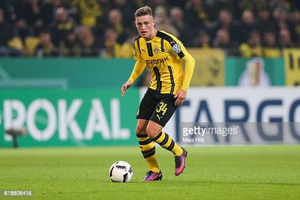 Jacob Bruun Larsen of Dortmund plays the ball during DFB Cup second round match between Borussia Dortmund and 1 FC Union Berlin at Signal Iduna Park...