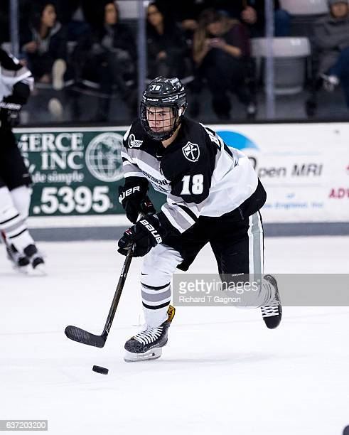 Jacob Bryson of the Providence College Friars skates against the Denver Pioneers during NCAA hockey at the Schneider Arena on December 30 2016 in...