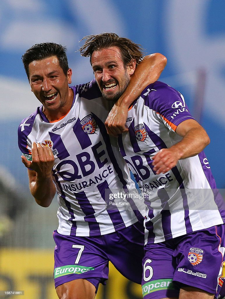 <a gi-track='captionPersonalityLinkClicked' href=/galleries/search?phrase=Jacob+Burns&family=editorial&specificpeople=2178094 ng-click='$event.stopPropagation()'>Jacob Burns</a> and Nick Ward of the Glory celebrate scoring a goal during the round 13 A-League match between the Perth Glory and the Western Sydney Wanderers at Patersons Stadium on December 27, 2012 in Perth, Australia.