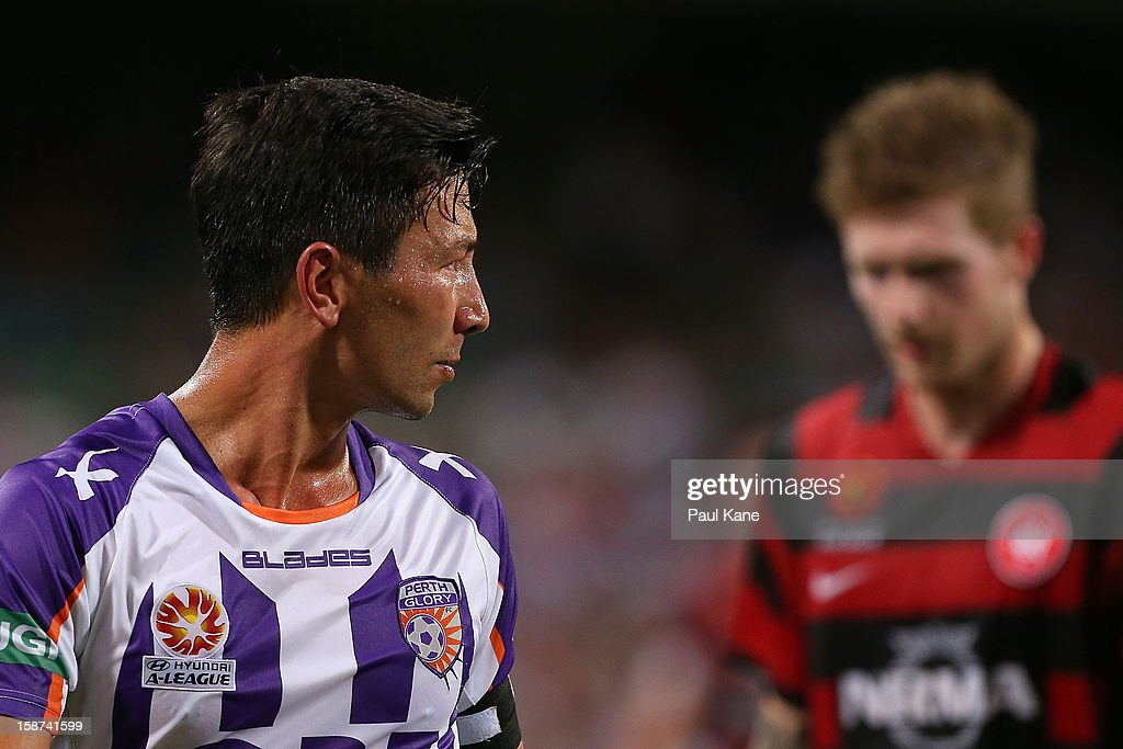 Jacob Burns of the Glory looks on while walking from the field at half time during the round 13 A-League match between the Perth Glory and the Western Sydney Wanderers at Patersons Stadium on December 27, 2012 in Perth, Australia.