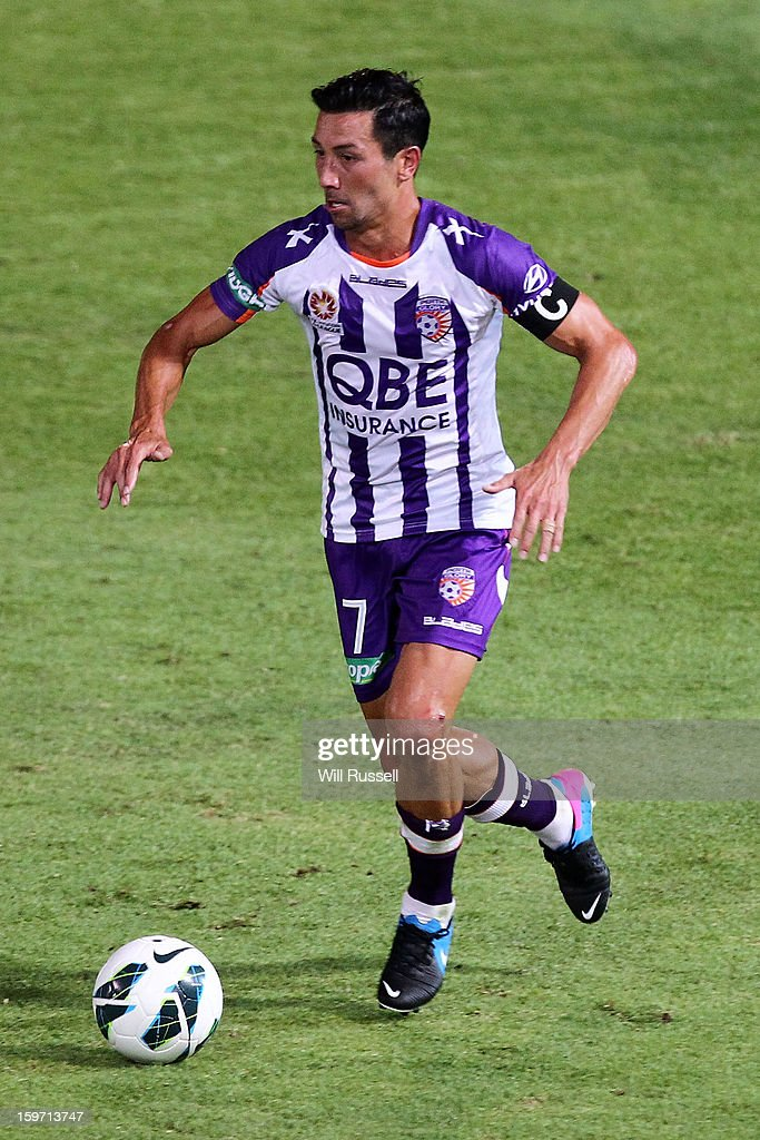 Jacob Burns of the Glory looks to pass the ball during the round 17 A-League match between the Perth Glory and the Melbourne Victory at nib Stadium on January 19, 2013 in Perth, Australia.