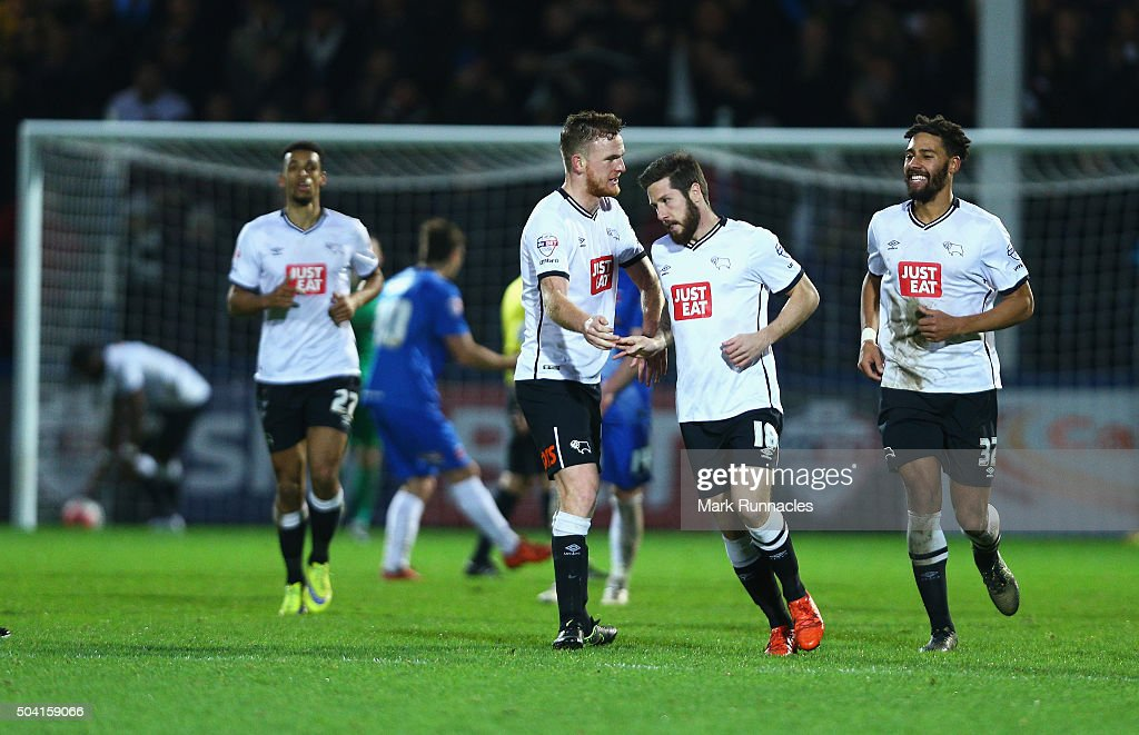 Jacob Butterfield (2nd R) of Derby County celebrates scoring his team's first goal with his team mates during the Emirates FA Cup third round match between Hartlepool United and Derby County at Victoria Park on January 9, 2016 in Hartlepool, England.