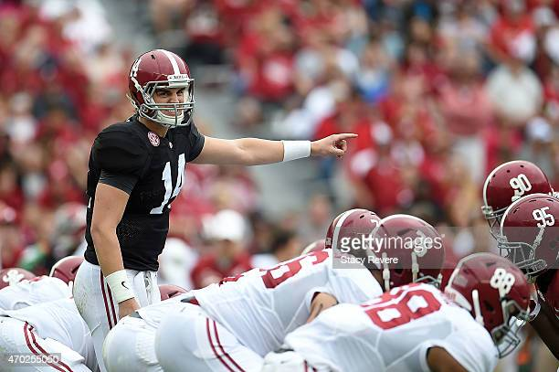 Jacob Coker of the White team calls a play against the Crimson team during the University of Alabama A Day spring game at BryantDenny Stadium on...