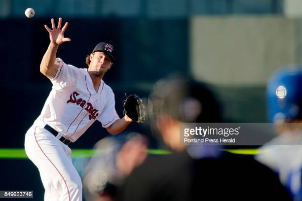 Jacob Dahlstrand the starter for the Portland Sea Dogs tries to bare hand a comeback to the mound in the second inning vs the Hartford Yard Goats...