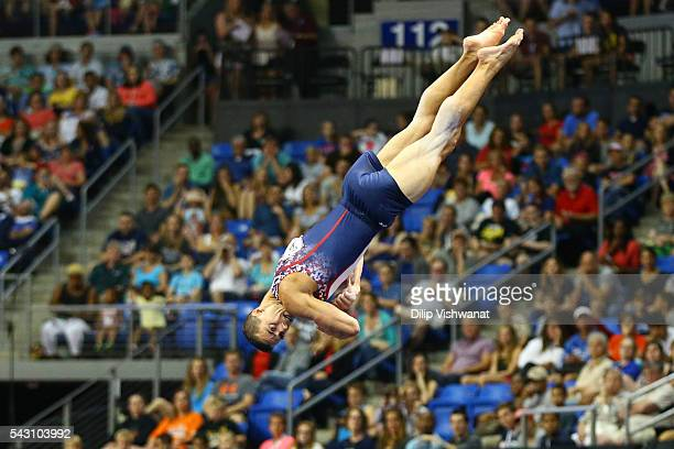Jacob Dalton competes in the floor exercise during day two of the 2016 Men's Gymnastics Olympic Trials at Chafitz Arena on June 25 2016 in St Louis...