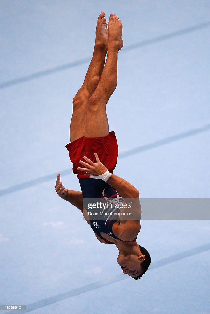 Jacob Dalton of USA competes Floor Exercise Final on Day Six of the Artistic Gymnastics World Championships Belgium 2013 held at the Antwerp Sports Palace on October 5, 2013 in Antwerpen, Belgium.