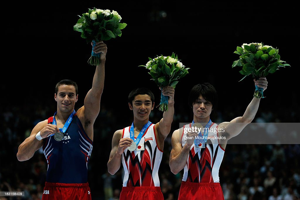 Jacob Dalton (Silver) of USA, Kenzo Shirai (Gold) of Japan and Kohei Uchimura (Bronze) of Japan pose with their medals for the Floor Exercise Final on Day Six of the Artistic Gymnastics World Championships Belgium 2013 held at the Antwerp Sports Palace on October 5, 2013 in Antwerpen, Belgium.