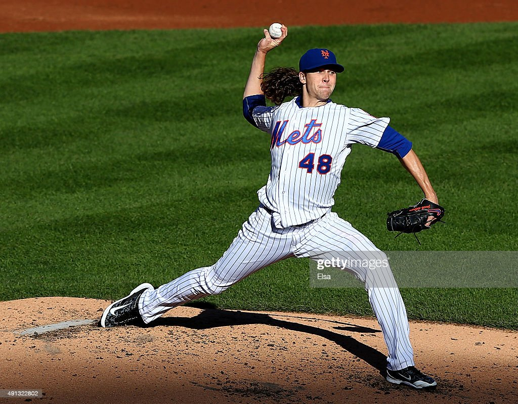 Jacob deGrom delivers a pitch in the third inning against the Washington Nationals on October 4 2015 at Citi Field in the Flushing neighborhood of...