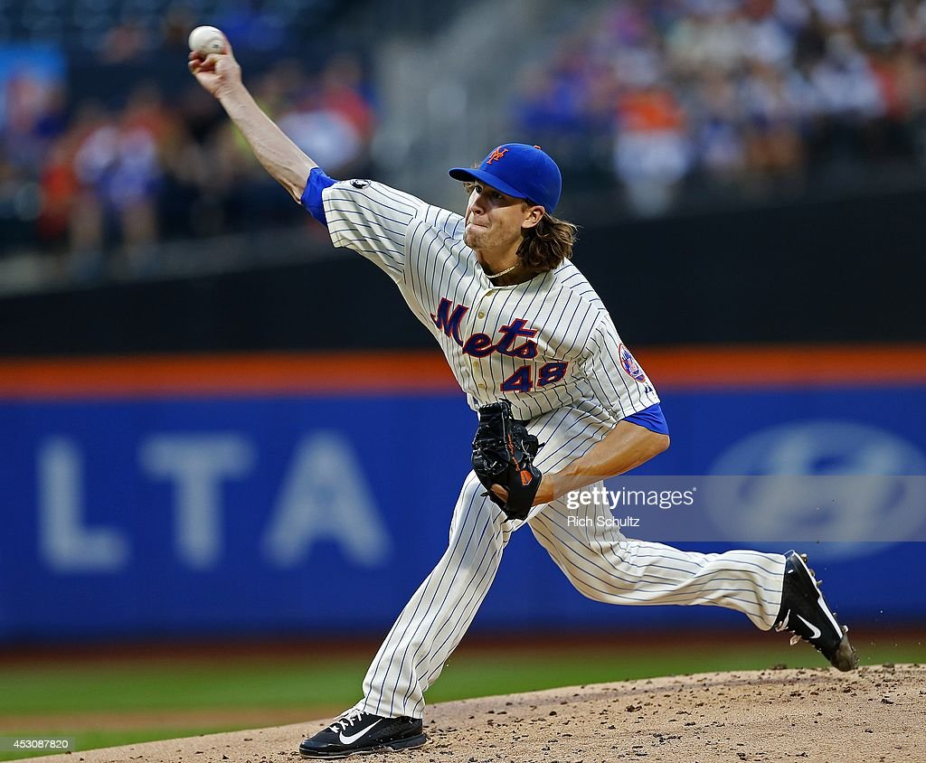 <a gi-track='captionPersonalityLinkClicked' href=/galleries/search?phrase=Jacob+deGrom&family=editorial&specificpeople=12510601 ng-click='$event.stopPropagation()'>Jacob deGrom</a> #48 of the New York Mets delivers a pitch against the San Francisco Giants on August 2, 2014 at Citi Field in the Flushing neighborhood of the Queens borough of New York City.