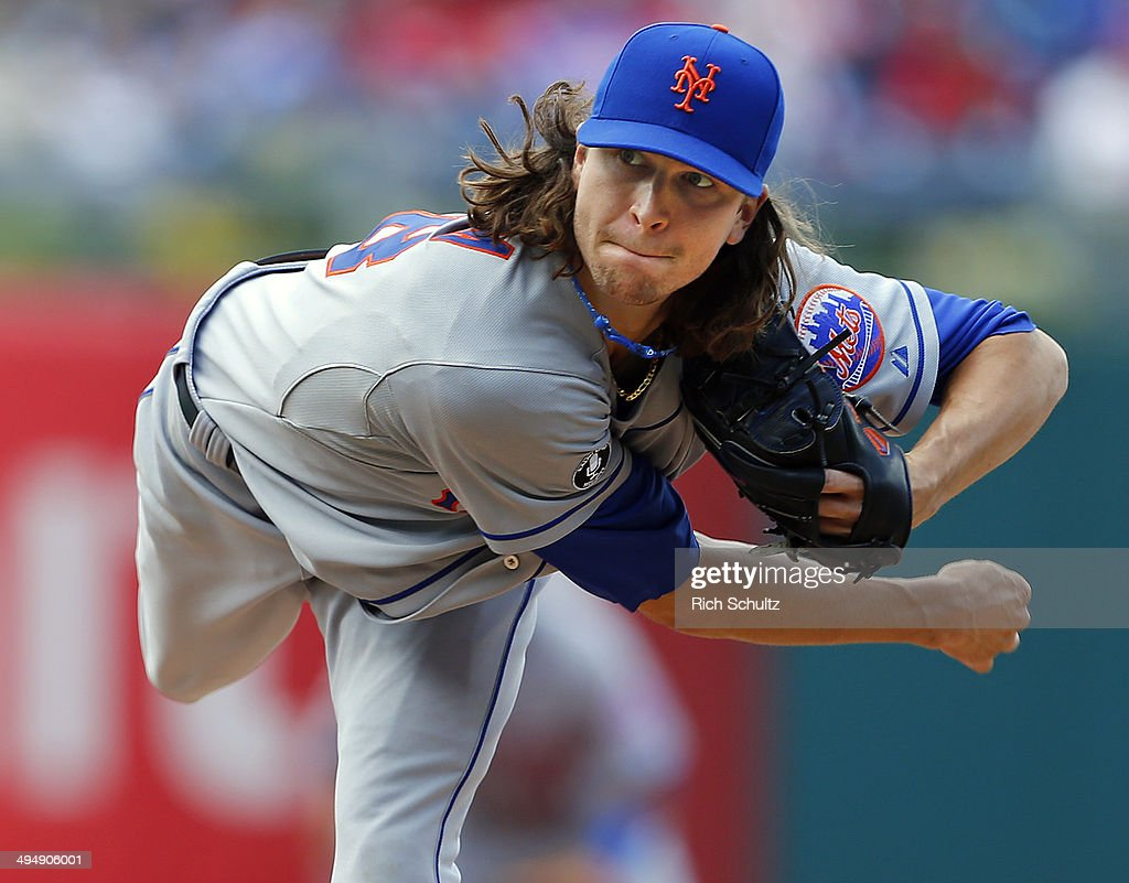 Jacob deGrom of the New York Mets delivers a pitch against the Philadelphia Phillies during the third inning at Citizens Bank Park on May 31 2014 in...