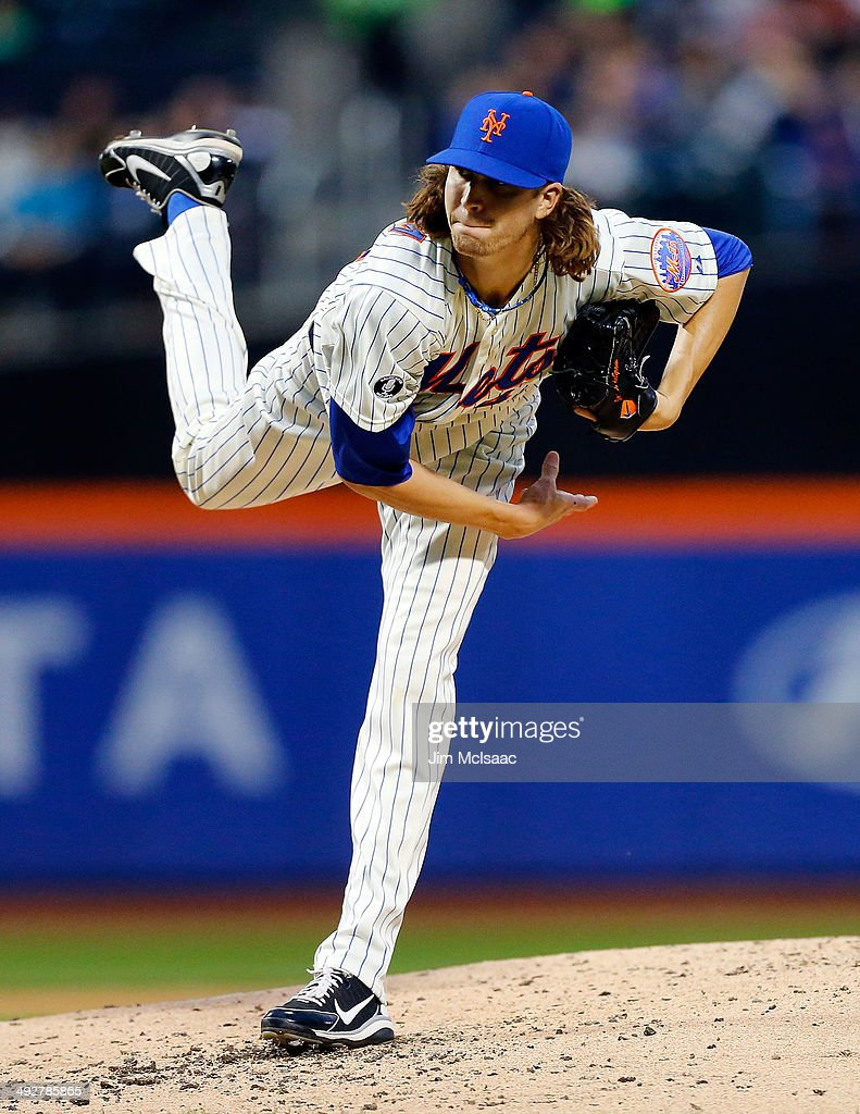 Jacob deGrom of the New York Mets delives a pitch in the third inning against the Los Angeles Dodgers at Citi Field on May 21 2014 in the Flushing...