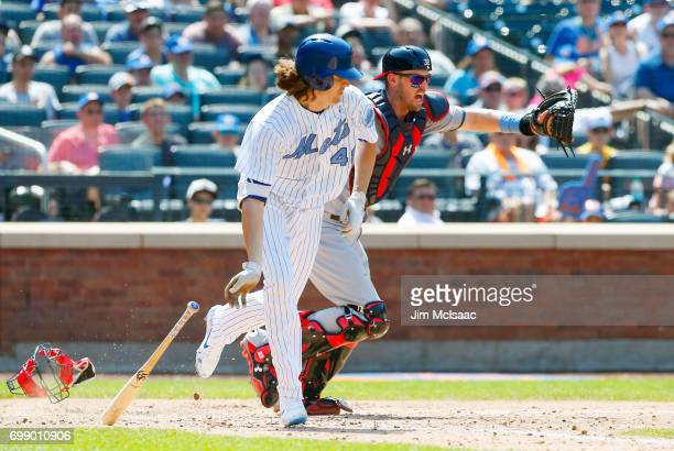 Jacob deGrom of the New York Mets in action against Matt Wieters of the Washington Nationals at Citi Field on June 18 2017 in the Flushing...