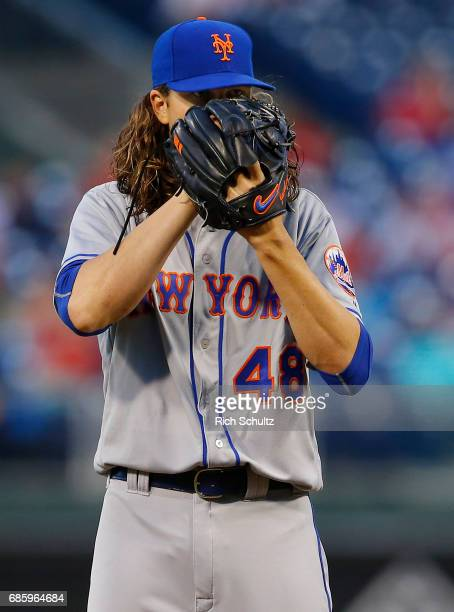 Jacob deGrom of the New York Mets in action during a game against the Philadelphia Phillies at Citizens Bank Park on April 10 2017 in Philadelphia...