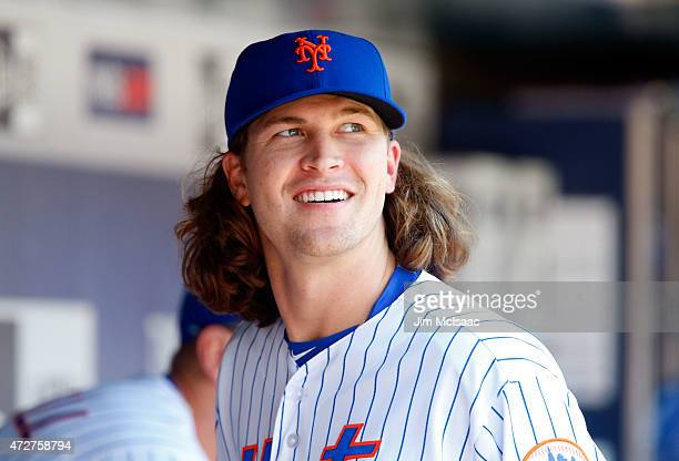 Jacob deGrom of the New York Mets looks on against the Washington Nationals at Citi Field on May 3 2015 in the Flushing neighborhood of the Queens...