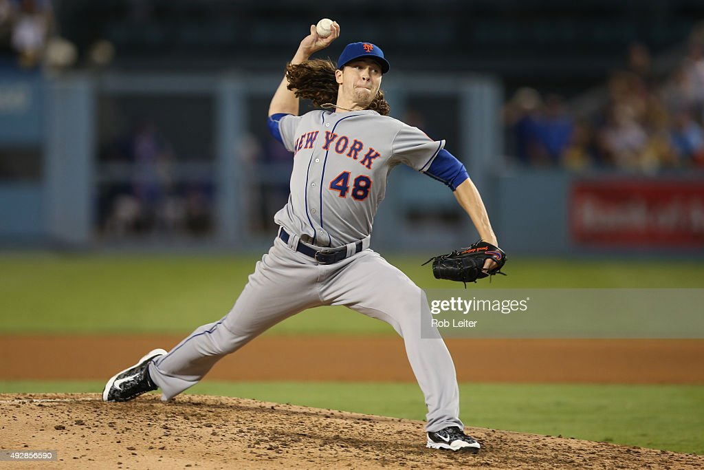 Jacob deGrom of the New York Mets pitches during Game 5 of the NLDS against the Los Angeles Dodgers at Dodgers Stadium on Thursday October 15 2015 in...