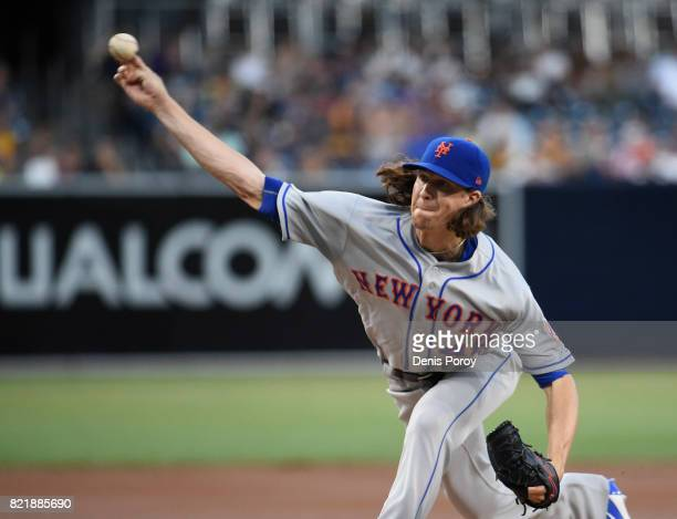 Jacob deGrom of the New York Mets pitches during the first inning of a baseball game against the San Diego Padres at PETCO Park on July 24 2017 in...