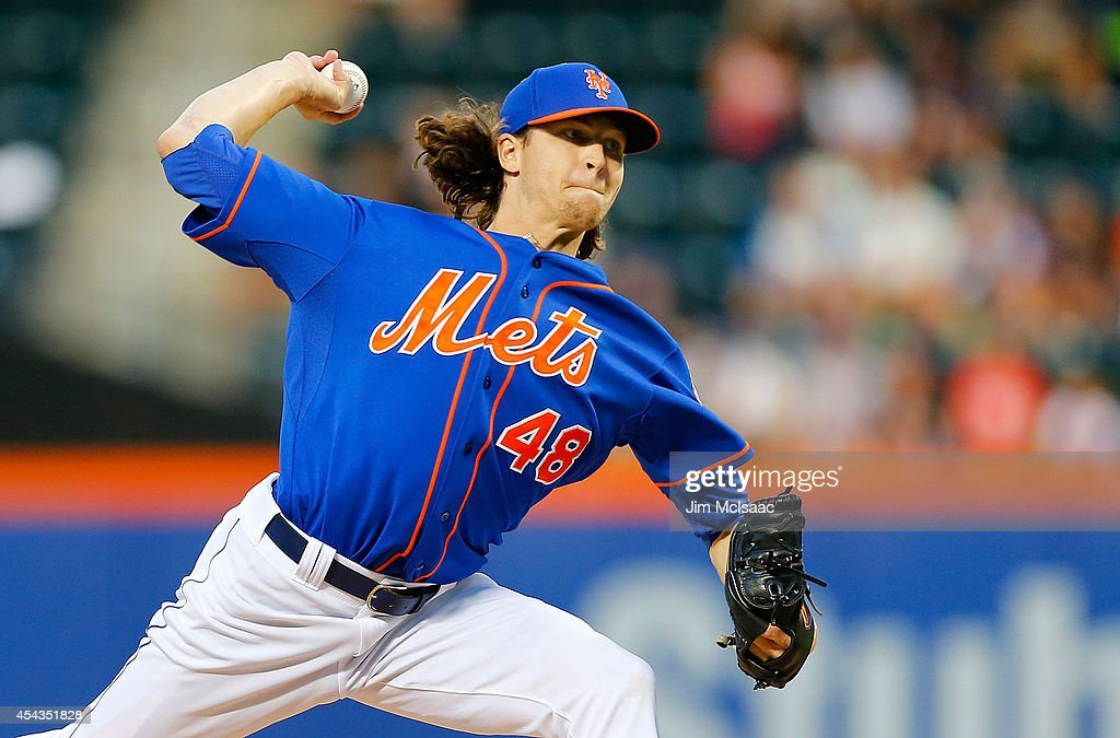 Jacob deGrom of the New York Mets pitches in the first inning against the Philadelphia Phillies at Citi Field on August 29 2014 in the Flushing...
