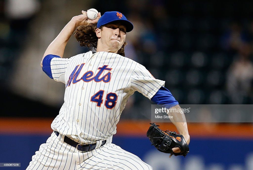 Jacob deGrom of the New York Mets pitches in the first inning against the Colorado Rockies at Citi Field on September 9 2014 in the Flushing...