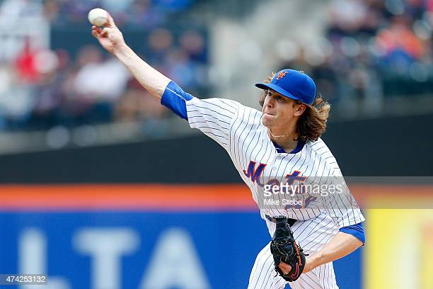 Jacob deGrom of the New York Mets pitches in the first inning against the St Louis Cardinals at Citi Field on May 21 2015 in the Flushing...