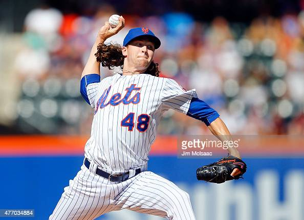 Jacob deGrom of the New York Mets pitches in the first inning against the Atlanta Braves at Citi Field on June 13 2015 in the Flushing neighborhood...