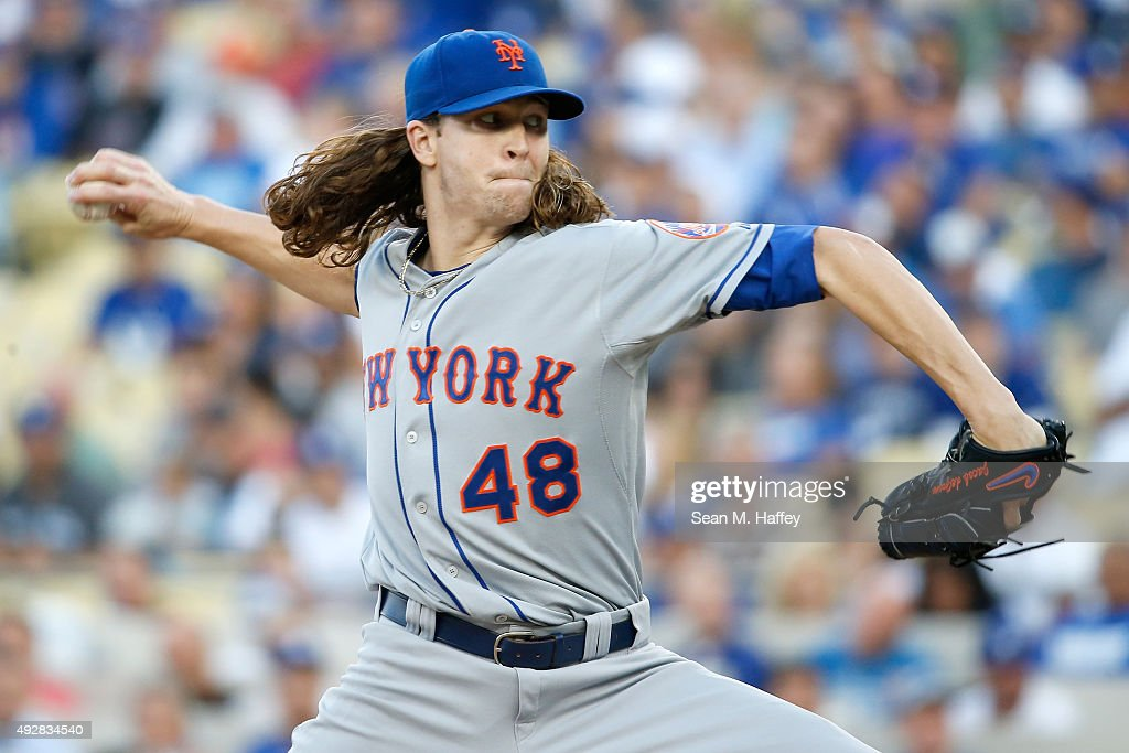 Jacob deGrom of the New York Mets pitches in the first inning against the Los Angeles Dodgers in game five of the National League Division Series at...