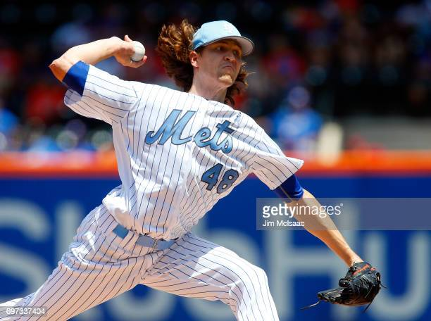 Jacob deGrom of the New York Mets pitches in the first inning against the Washington Nationals at Citi Field on June 18 2017 in the Flushing...