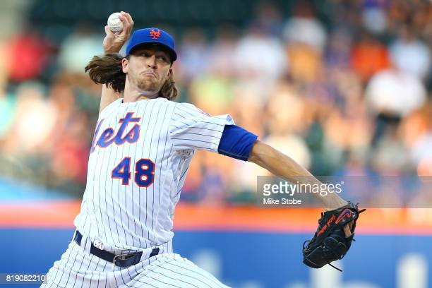 Jacob deGrom of the New York Mets pitches in the first inning against the St Louis Cardinals at Citi Field on July 19 2017 in the Flushing...