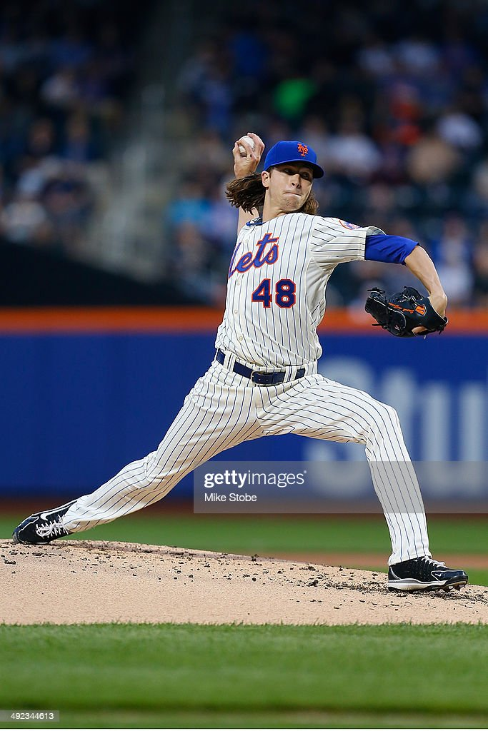Jacob deGrom of the New York Mets pitches in the second inning against the New York Yankees on May 15 2014 at Citi Field in the Flushing neighborhood...