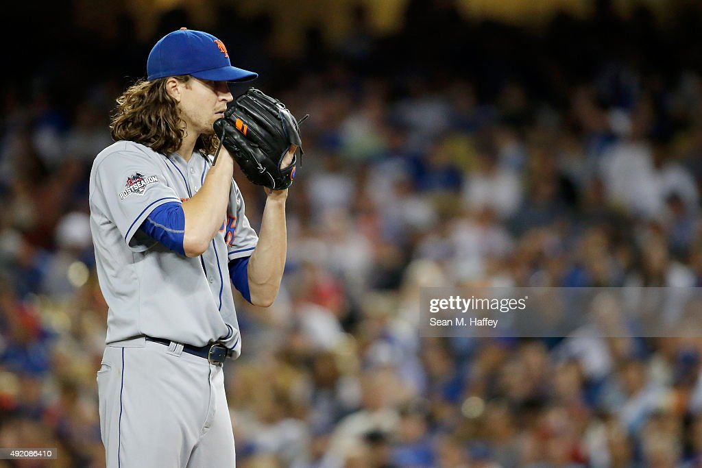 Jacob deGrom of the New York Mets pitches in the seventh inning against the Los Angeles Dodgers in game one of the National League Division Series at...