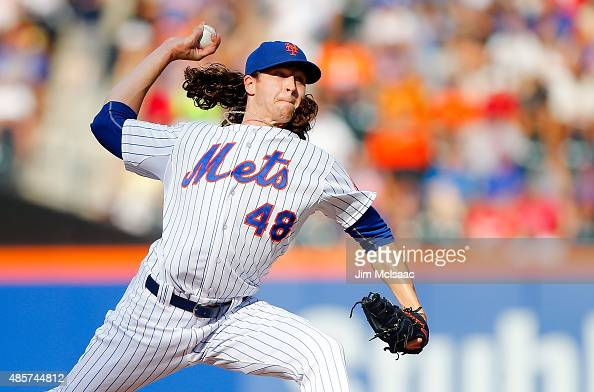 Jacob deGrom of the New York Mets pitches in the third inning against the Boston Red Sox at Citi Field on August 29 2015 in the Flushing neighborhood...