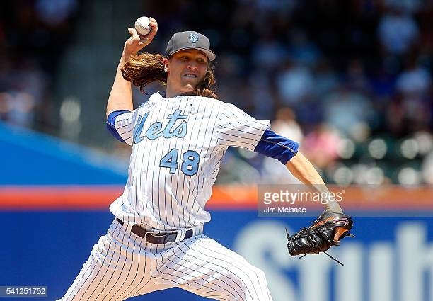 Jacob deGrom of the New York Mets pitches in the third inning against the Atlanta Braves at Citi Field on June 19 2016 in the Flushing neighborhood...