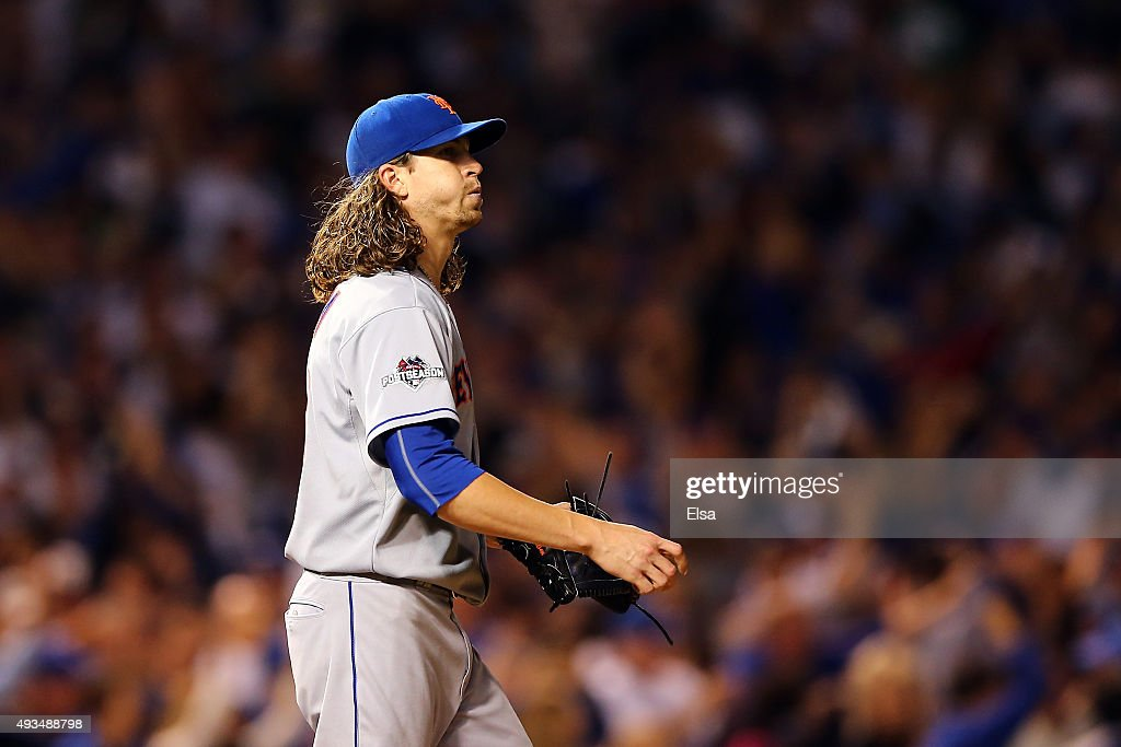 Jacob deGrom #48 of the New York Mets reacts after giving up a solo home run in the fourth inning to Jorge Soler #68 of the Chicago Cubs during game three of the 2015 MLB National League Championship Series at Wrigley Field on October 20, 2015 in Chicago, Illinois.