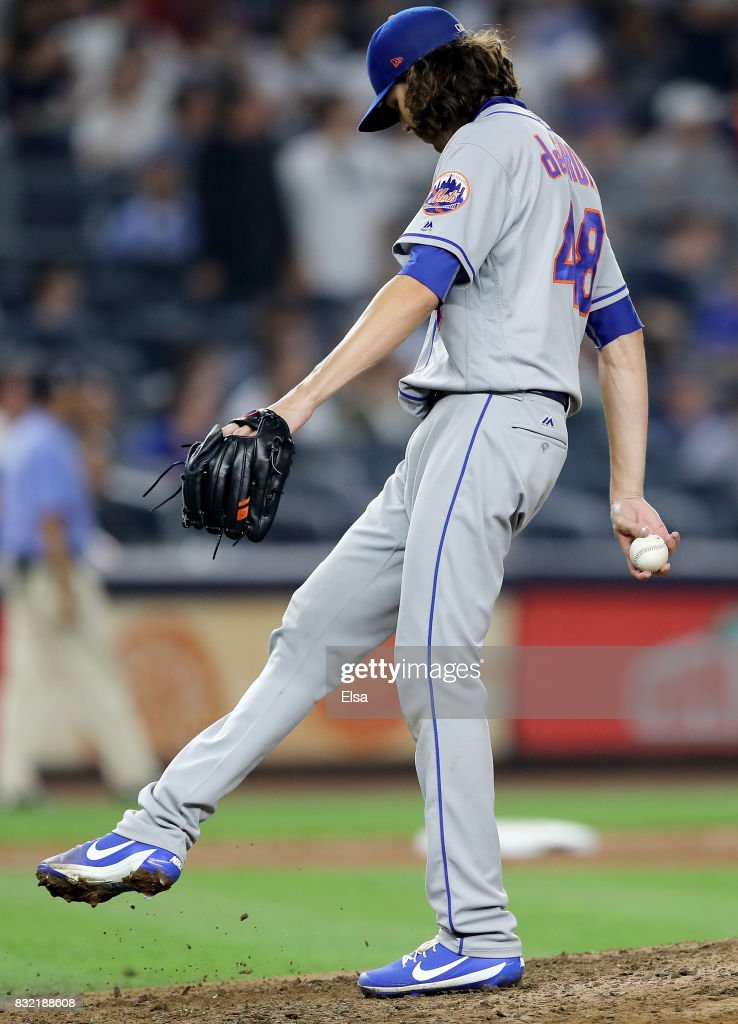 Jacob deGrom #48 of the New York Mets reacts as he is pulled in the eighth inning against the New York Yankees during interleague play on August 15, 2017 at Yankee Stadium in the Bronx borough of New York City.