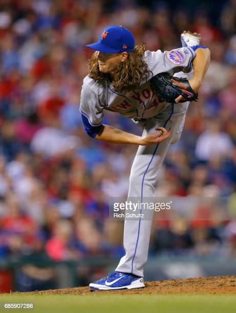 Jacob deGrom of the New York Mets reacts during a game against the Philadelphia Phillies at Citizens Bank Park on April 10 2017 in Philadelphia...