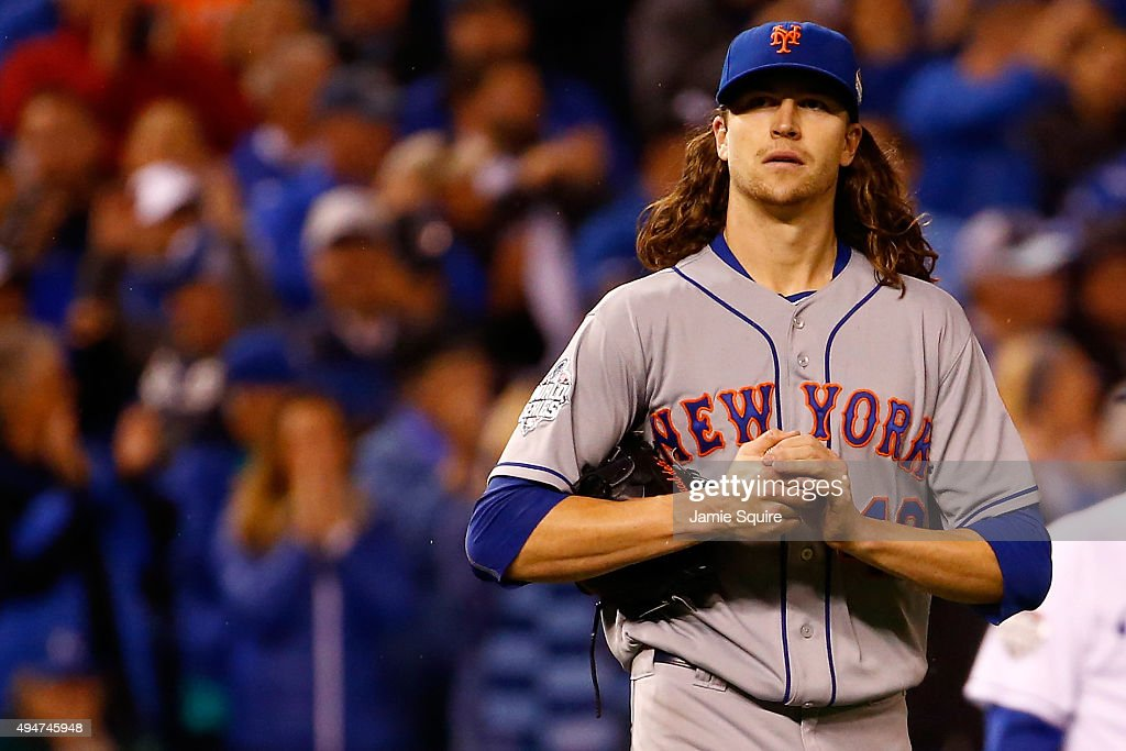 Jacob deGrom of the New York Mets reacts in the fifth inning against the Kansas City Royals in Game Two of the 2015 World Series at Kauffman Stadium...