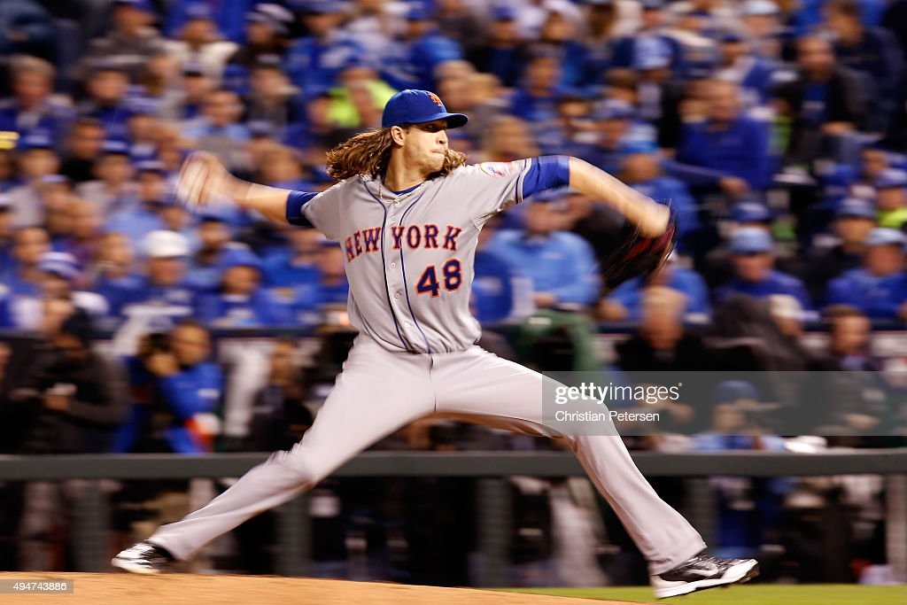 Jacob deGrom of the New York Mets throws a pitch in the fourth inning against the Kansas City Royals in Game Two of the 2015 World Series at Kauffman...