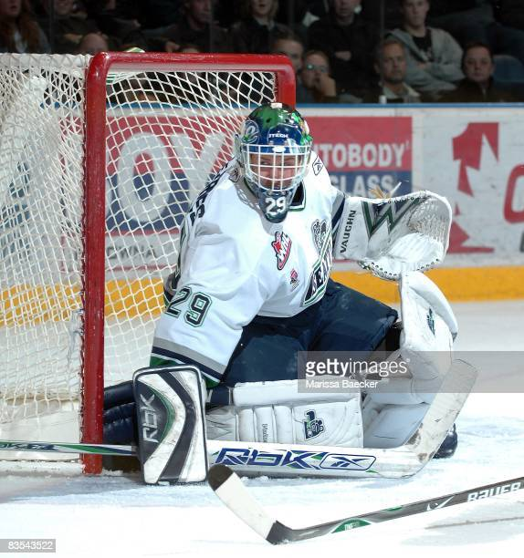Jacob DeSerres of the Seattle Thunderbirds blocks a shot against the Kelowna Rockets on October 29 2008 at Prospera Place in Kelowna Canada