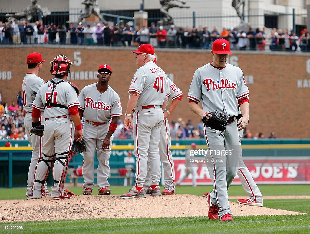 Jacob Diekman #63 of the Philadelphia Phillies leaves the mound after being replaced in the sixth inning by manager <a gi-track='captionPersonalityLinkClicked' href=/galleries/search?phrase=Charlie+Manuel&family=editorial&specificpeople=217967 ng-click='$event.stopPropagation()'>Charlie Manuel</a> while playing the Detroit Tigers at Comerica Park on July 28, 2013 in Detroit, Michigan.