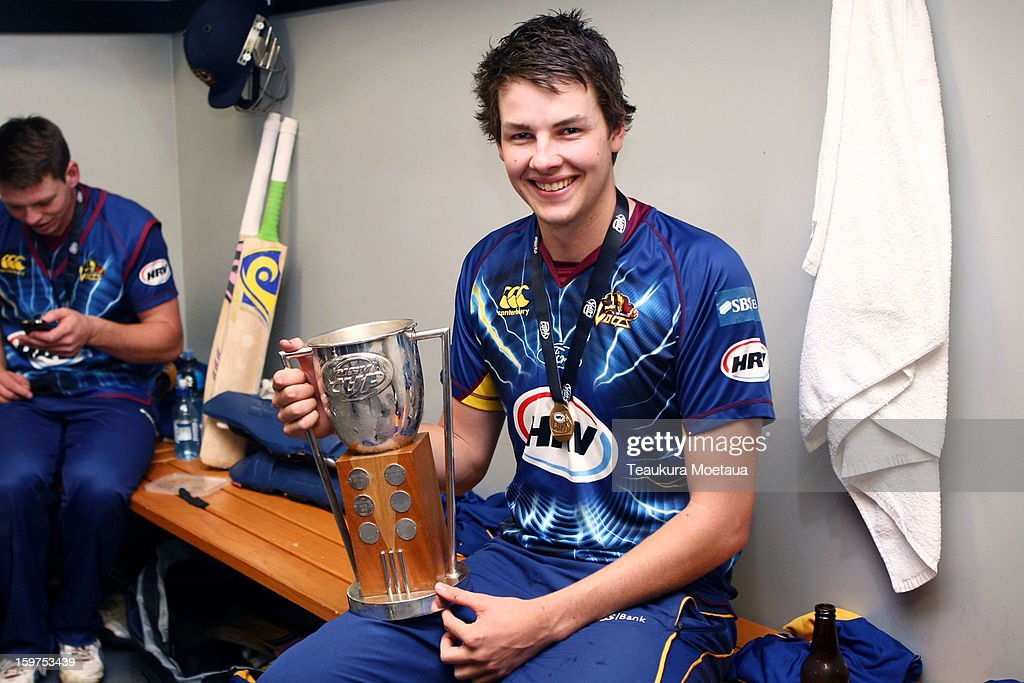 Jacob Duffy of Otago poses for a photo after winning the HRV T20 Final match between the Otago Volts and the Wellington Firebirds at University Oval on January 20, 2013 in Dunedin, New Zealand.