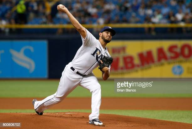 Jacob Faria of the Tampa Bay Rays pitches during the first inning of a game against the Baltimore Orioles on June 24 2017 at Tropicana Field in St...
