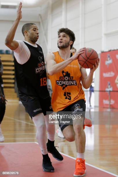 Jacob Formosa drives to the basket during the NBL Combine 2017/18 at Melbourne Sports and Aquatic Centre on April 18 2017 in Melbourne Australia